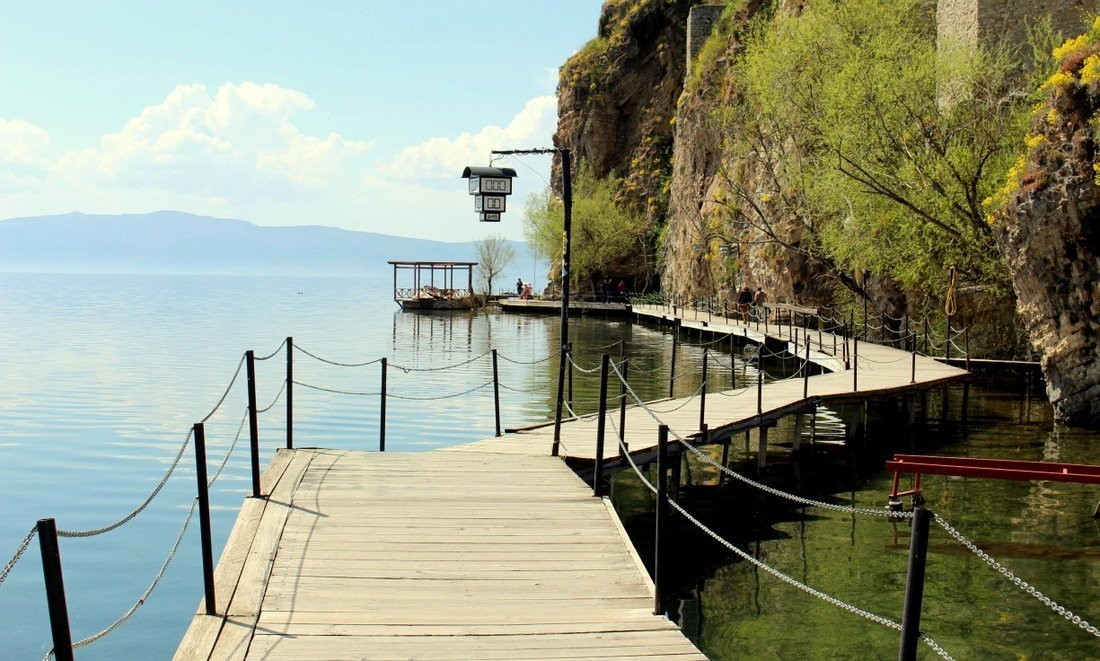 A wooden walkway by Lake Ohrid on the way to Sveti Jovan