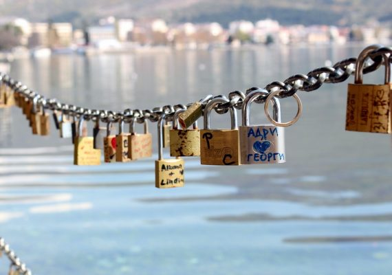 Love locks on Lake Ohrid in Macedonia