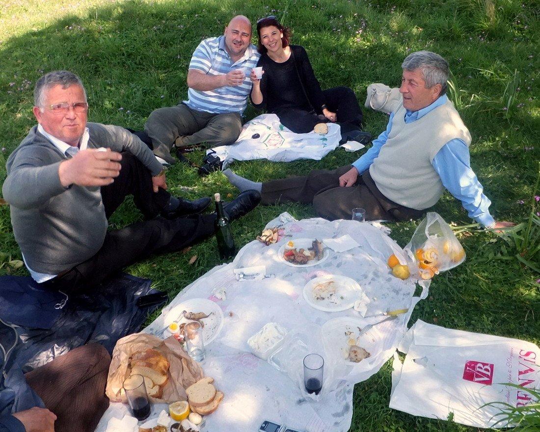 Michelle enjoying a picnic in Apollonia, Albania - Albania travel guide