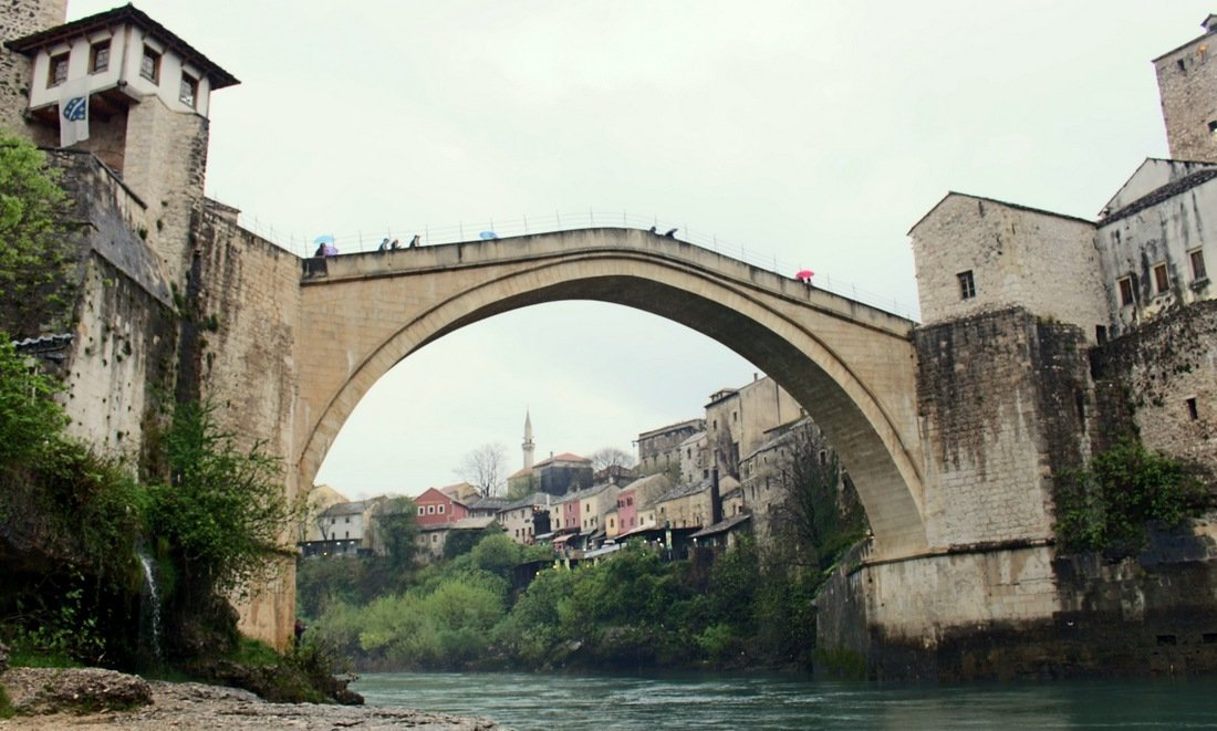 The famous Stari Most or Mostar stone bridge