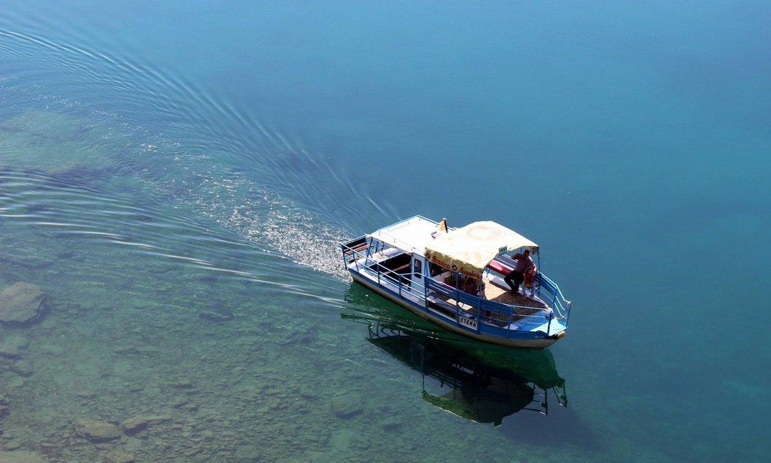 A boat on Lake Ohrid in Macedonia - before we leave home