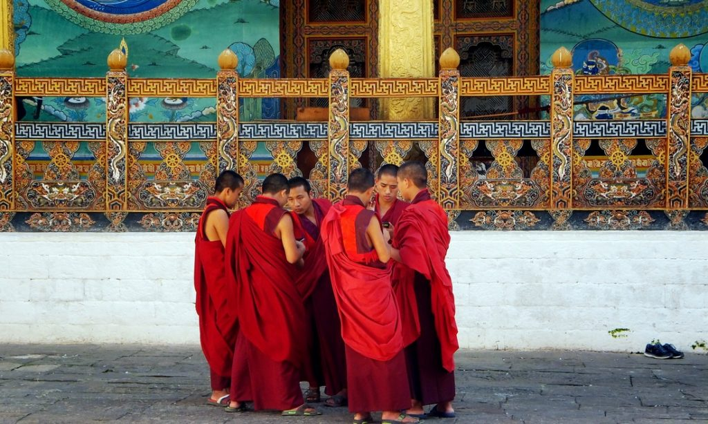 a group of monks in a monastery in Bhutan