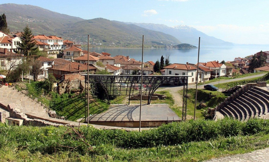The amphitheatre in Ohrid with a background of Lake Ohrid