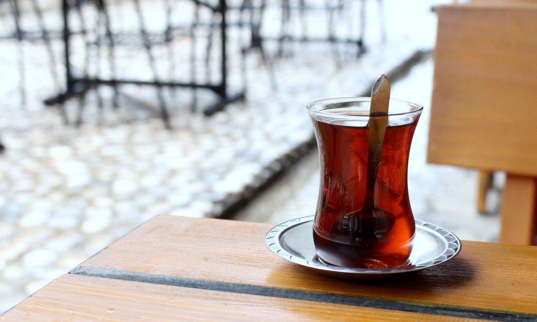 A glass of Turkish style tea