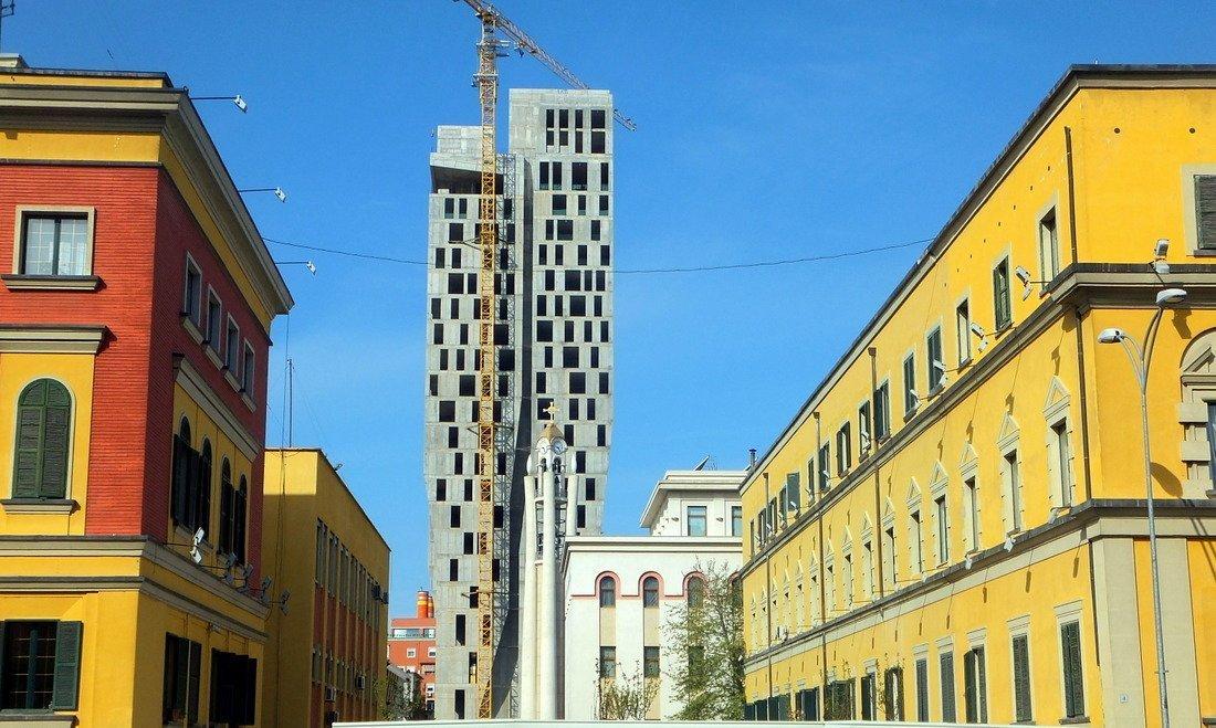 Colourful buildings amid construction in Tirana