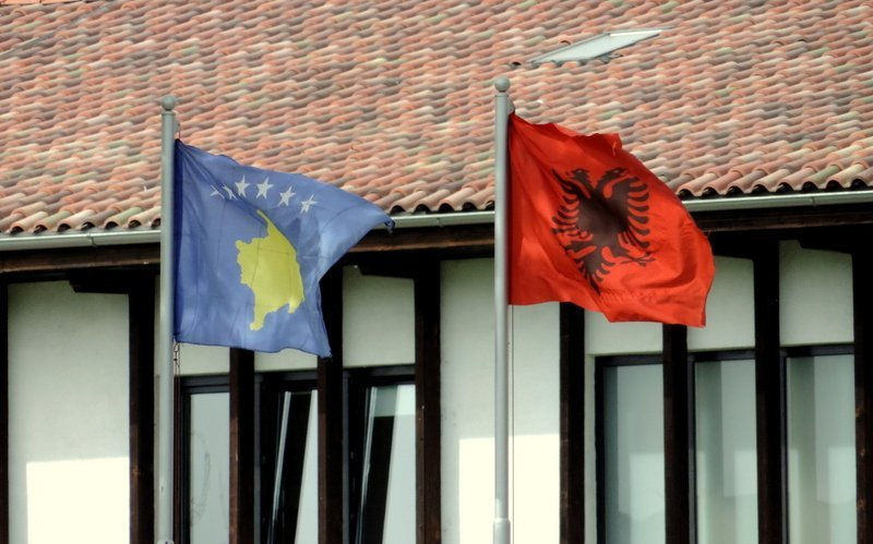 The Kosovo and the Albanian flag