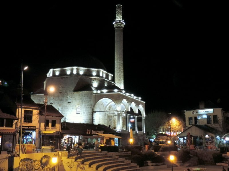 The mosque in Prizren lit up at night, Kosovo