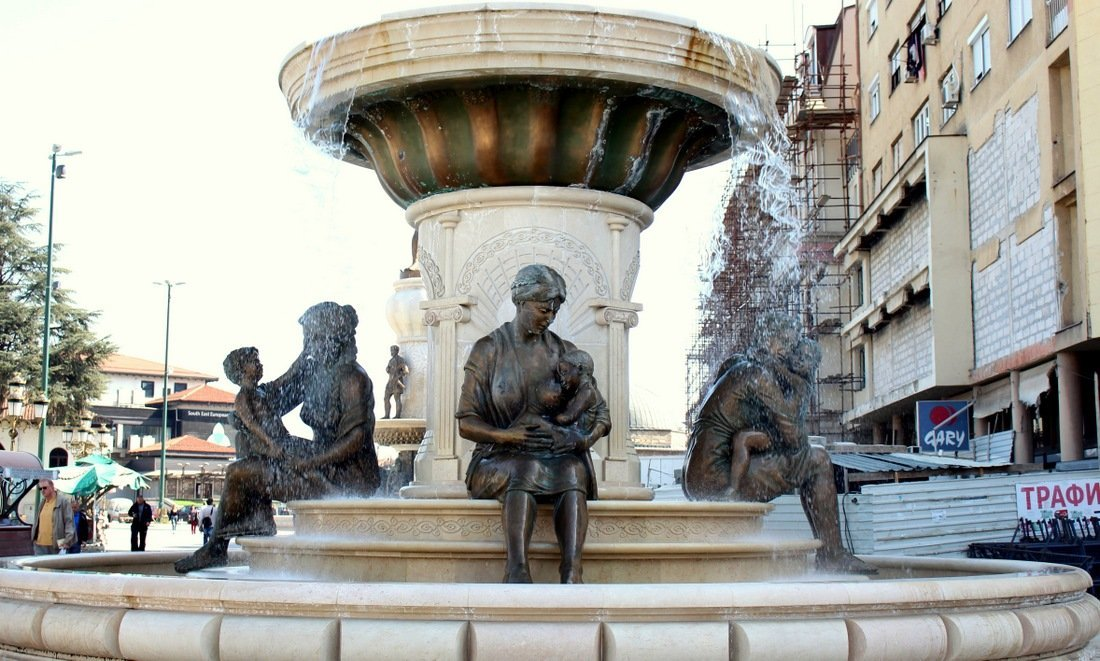 A fountain in Skopje showing breast-feeding women