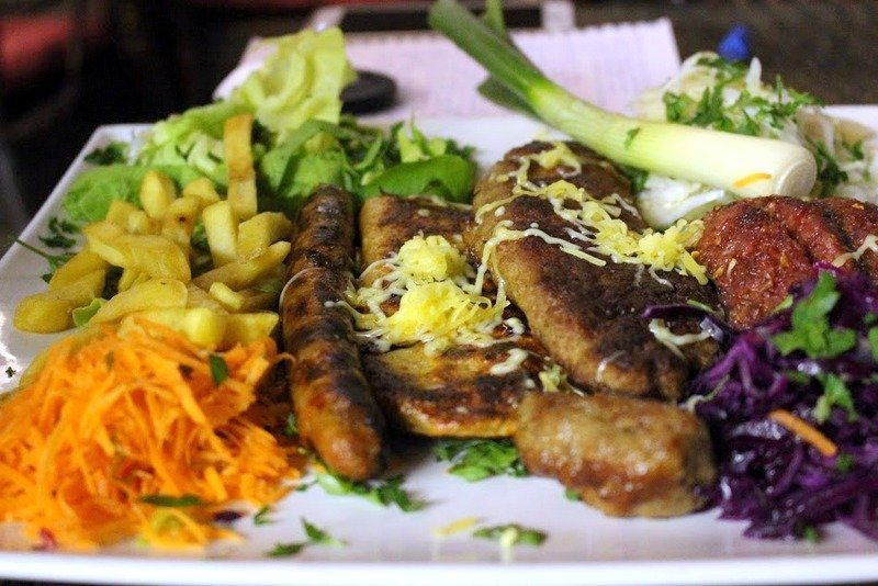 Meat and Sausage platter, food in Kosovo