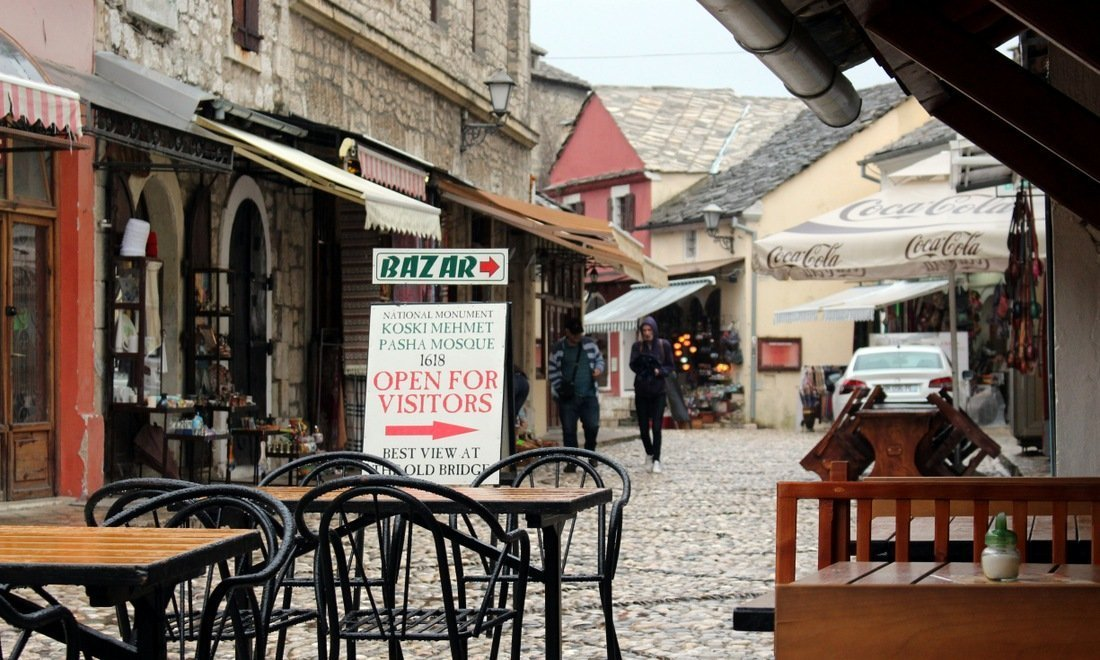 Cobbled streets in he old town of Mostar