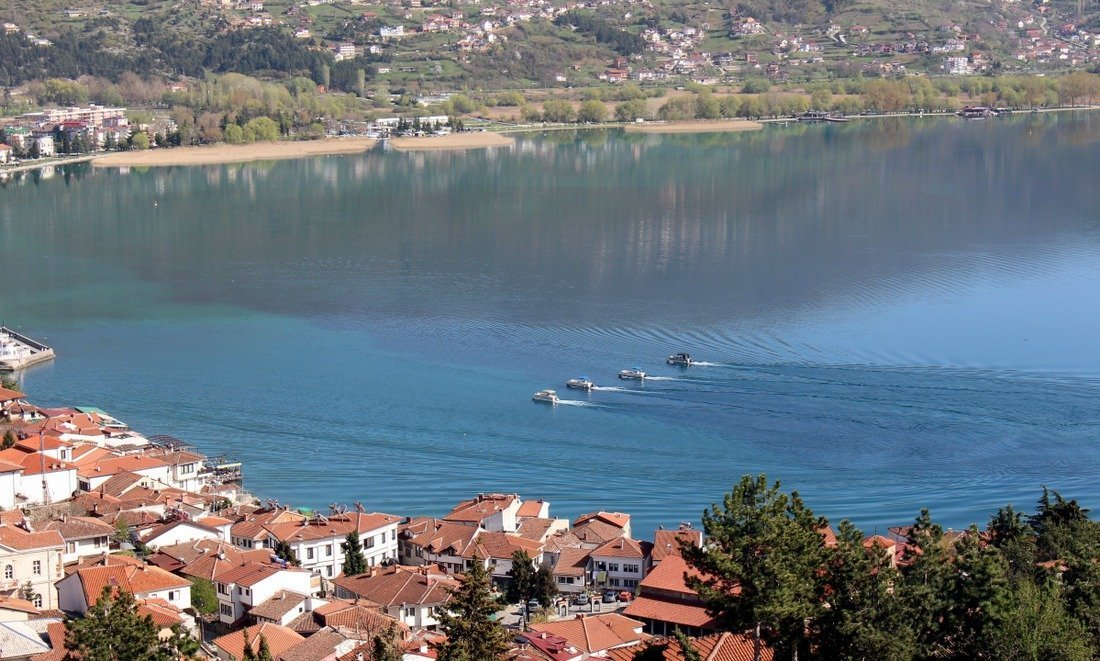 View of boats on Lake Ohrid from Samoil's fortress