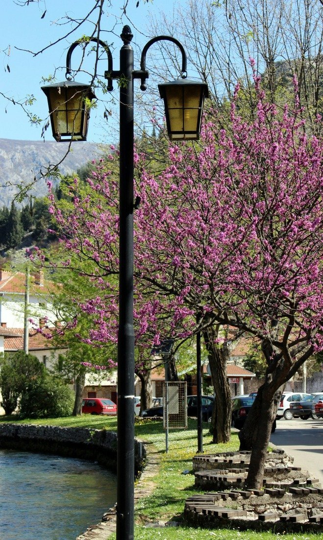 street lighting on the river bank in Stolac, a town in southern Bosnia