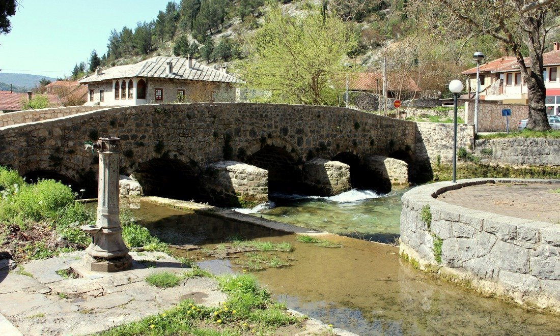 A view of the Inat Cuprija, an old stone bridge in Stolac in southern Bosnia
