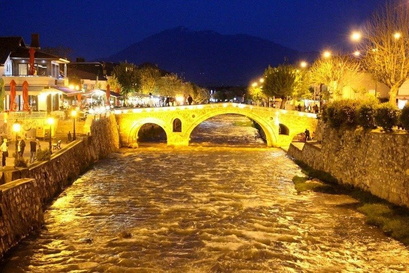 The Old Stone bridge by night in Pristina, Kosovo