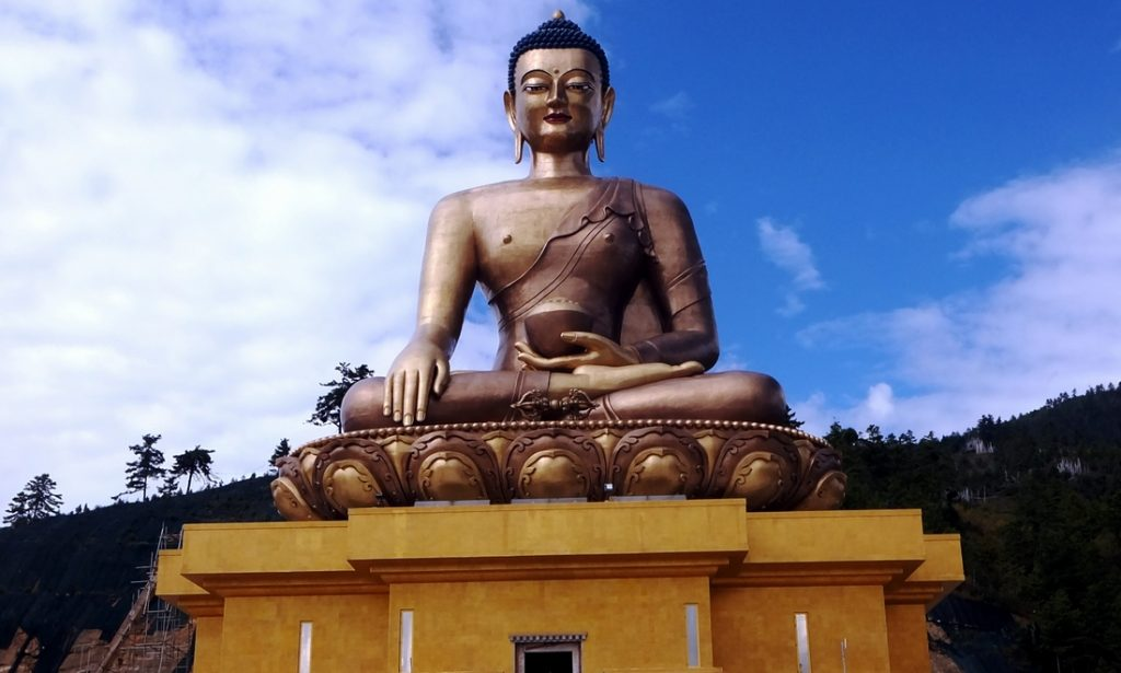 A large Buddha image in Thimpu the capital of Bhutan
