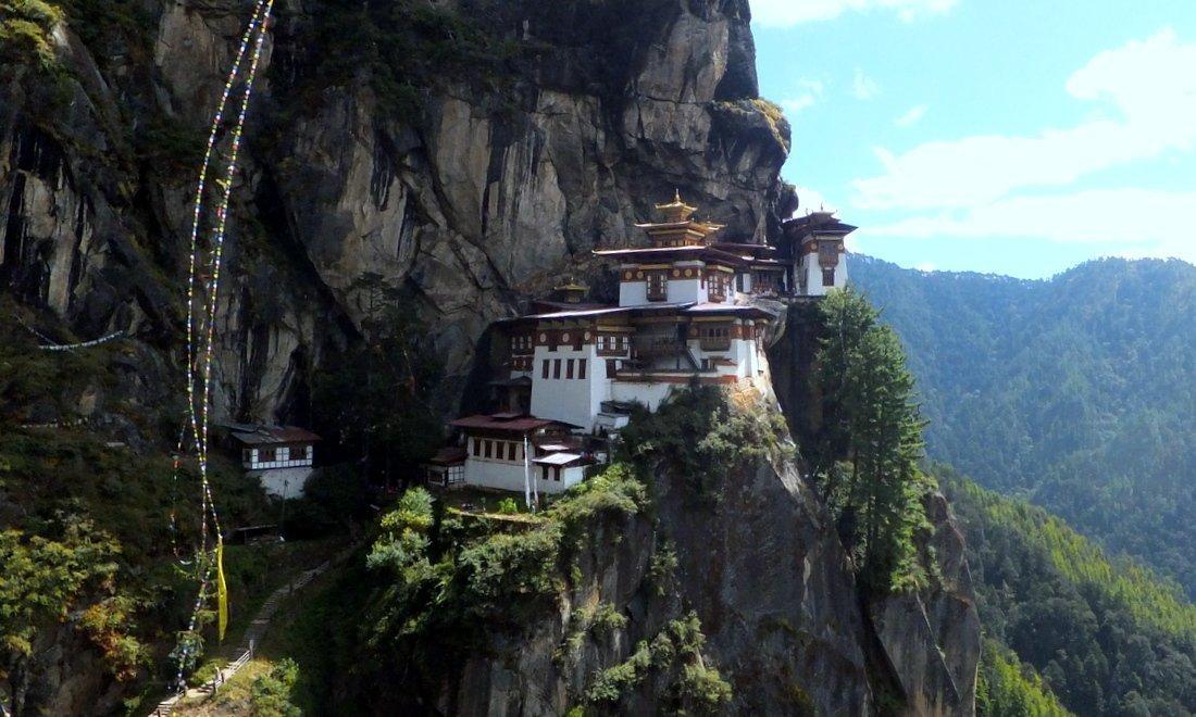 Bhutan Tourism - The Tiger's Nest monastery on a mountain cliff in Paro, Bhutan