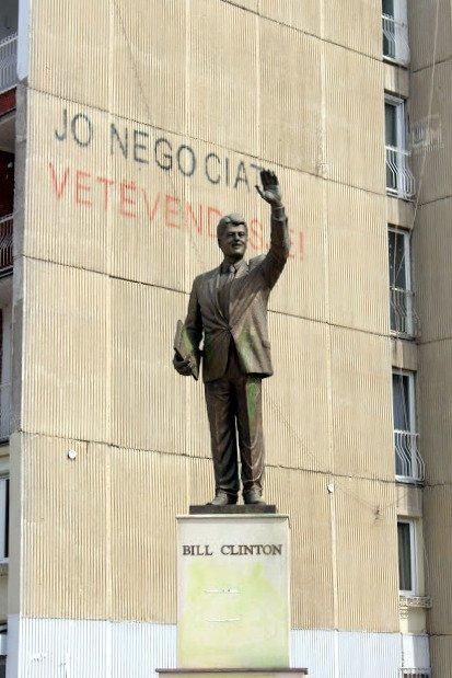 a statue of Bill Clinton in Pristina, Kosovo