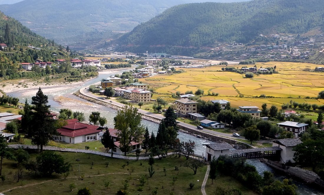 A view over Paro valley in Bhutan
