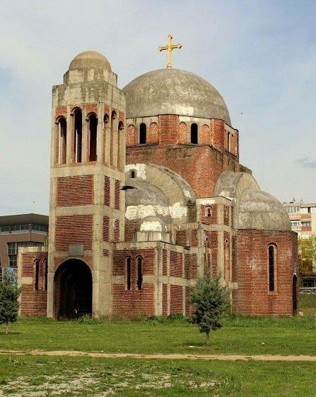 An unfinished Serbian Orthodox Church in Pristina, Kosovo