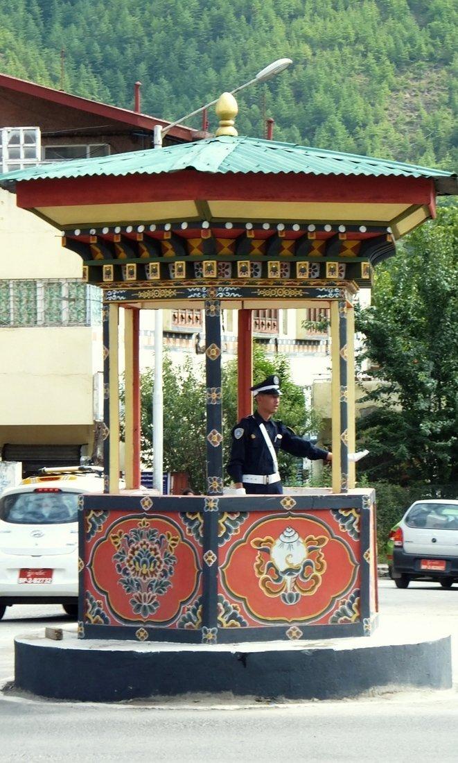 A policeman directing traffic in Thimpu, Bhutan's capital