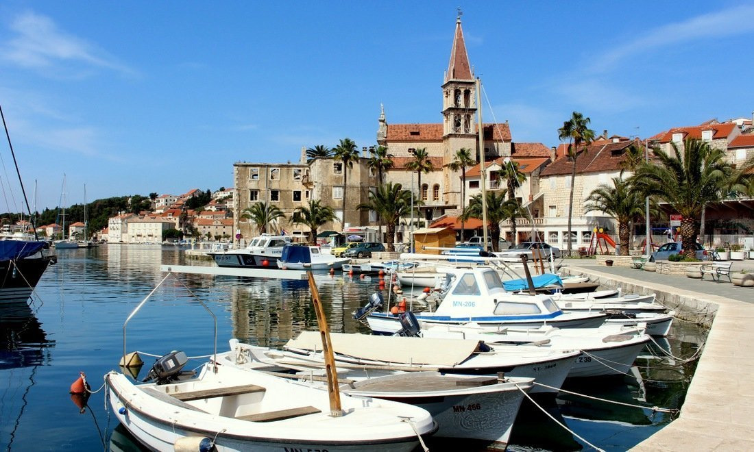 The marina and church is the little fishing village of Milna on the island of Brač (Brac) - Day trip to Brač