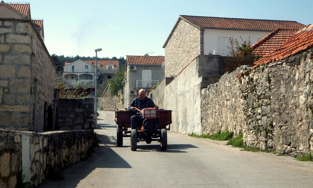 A man rides a tractor - Day trip to Brač