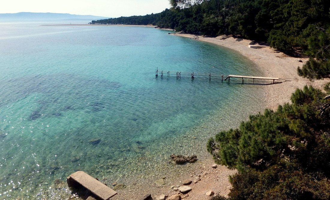 An empty beach in Bol on the island of Brač (or Brac) - Day trip to Brač - Day trip to Brac