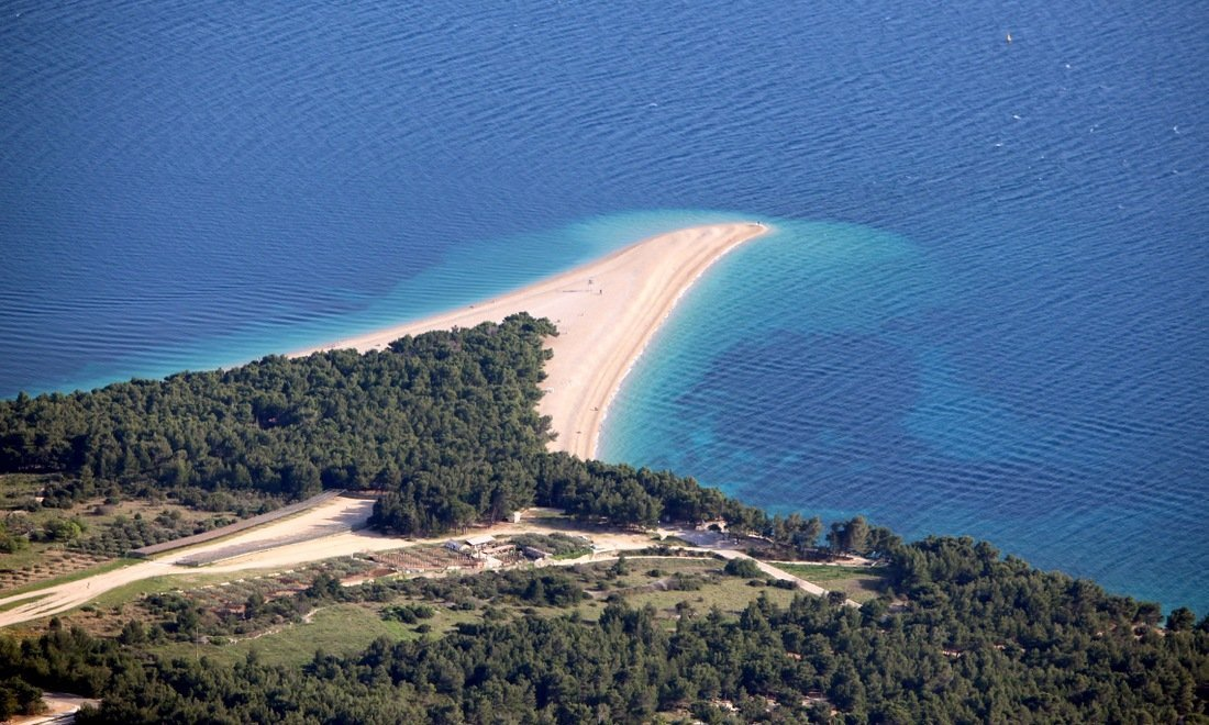 A view of Zlatni Rat beach otherwise known as the Golden Horn on the island of Brač (Brac)