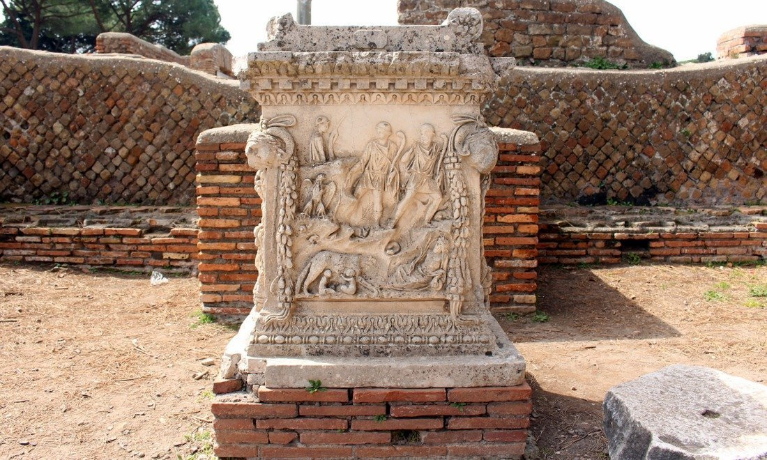 An ancient column in the ruins of Ostia Antica