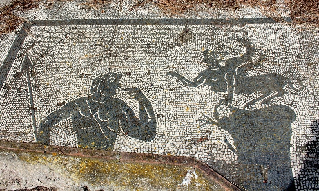 One of the mosaic images at the Ostia Antica ruins