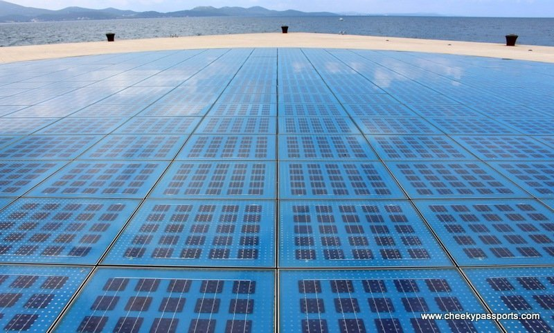 A huge glass circle filled with photovoltaic cells next to the ocean - The Northern Dalmatian Coast - Places to Visit in Zadar