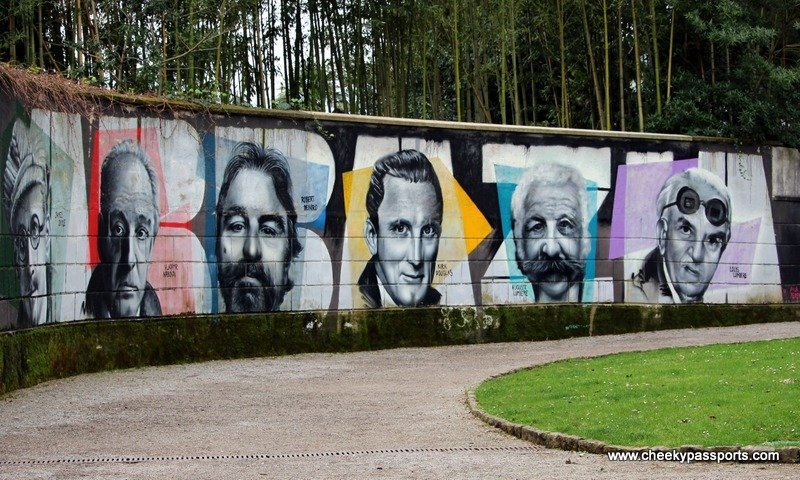Murals of famous people at Park Angiolina in Opatija on the peninsula of Istria - Treasures of Istria