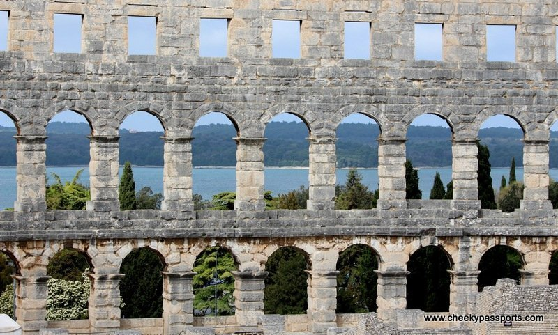 part of the Pula amphitheatre facing the sea - Treasures of Istria