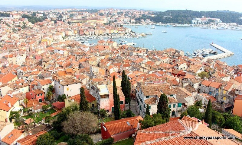 View of Rovinj houses and sea from the top of the bell tower - Treasures of Istria