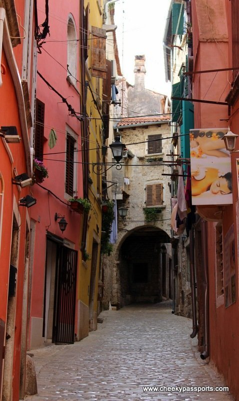 The colourful houses in Rovinj