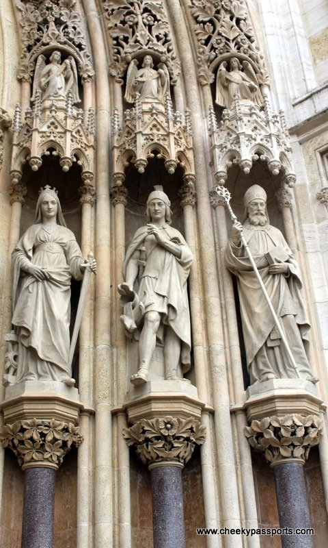 statues forming part of the entrance to the gothic catheral, a good reason to Visit Zagreb