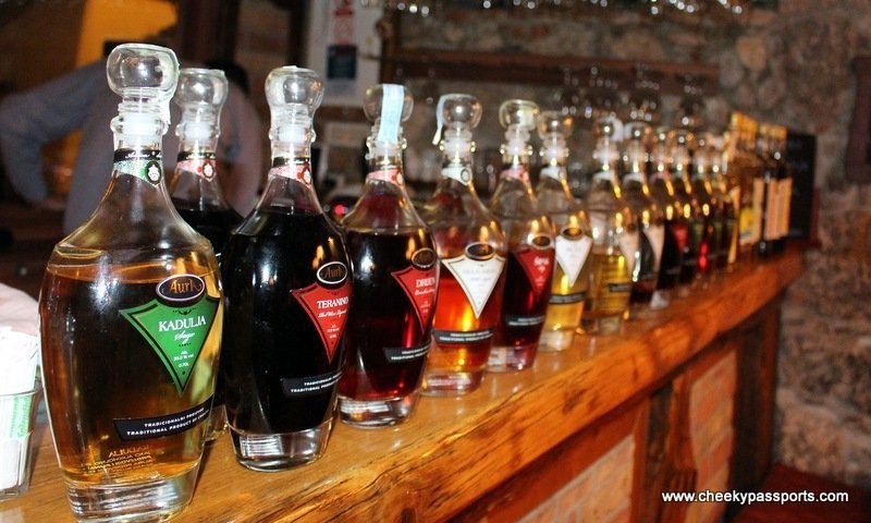 Bottles of different flavoured rakija