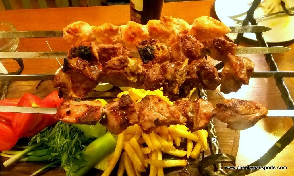 Different types of meat kebabs