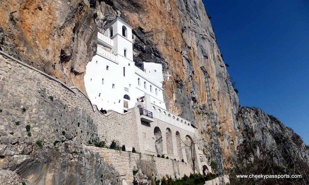A view of Ostrog Monastery from below it