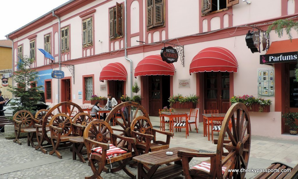 Tables outside a bar in the old part of Shkoder