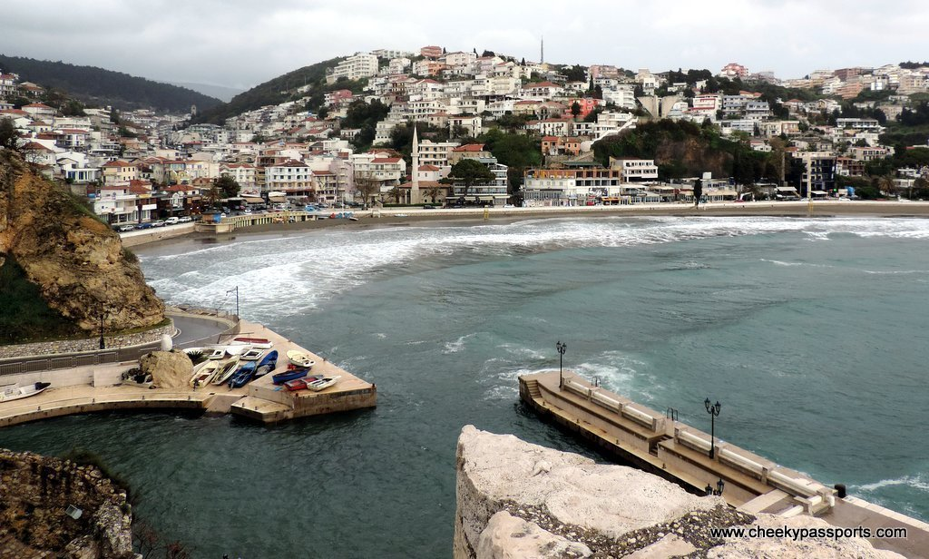 A view over the harbour and the town of Ulcinj during rough weather - a gem in coastal Montenegro