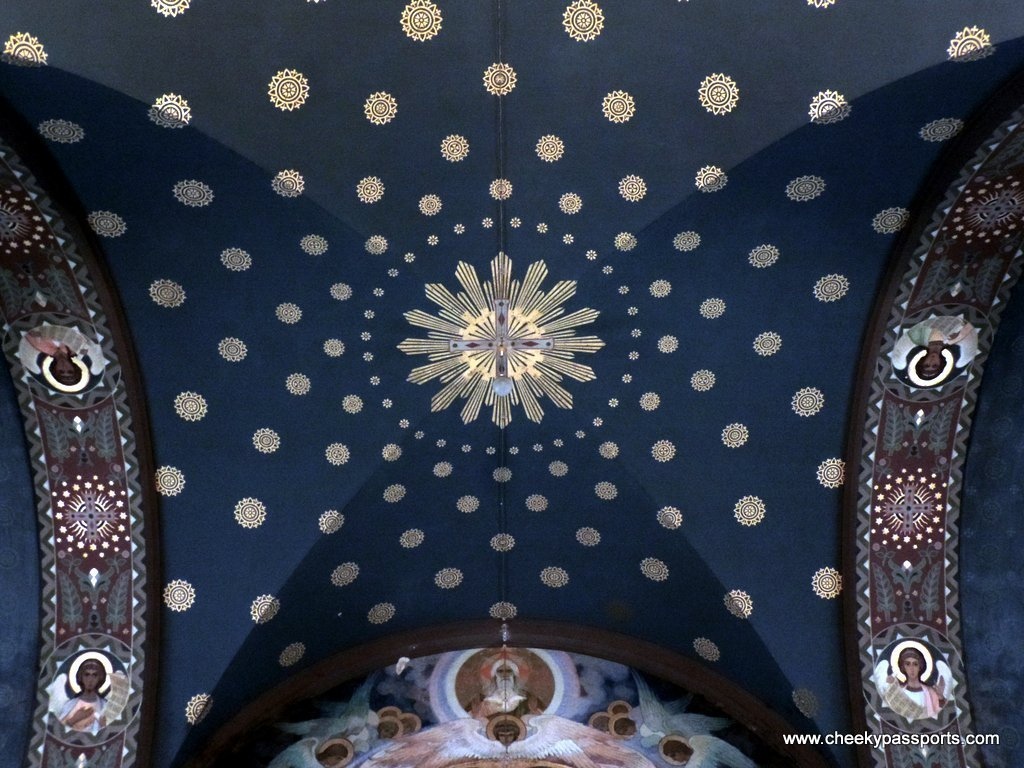 The blue ceiling of an Abkhazian monastery - planning a trip to Abkhazia