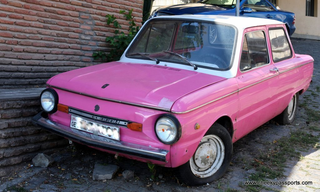 a bright pink vehicle in Armenia, not the vehicle we used whilst planning a road trip!