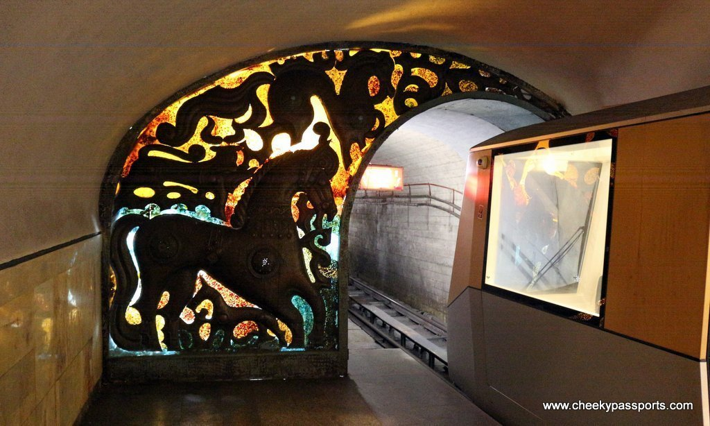 The underground train station to the Novy Afon caves