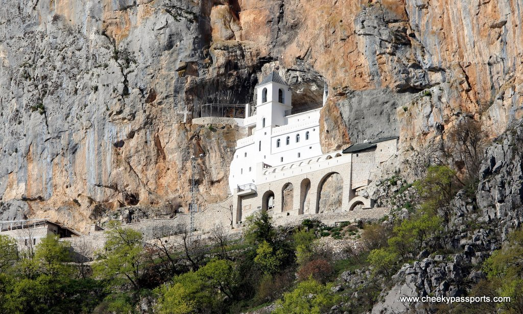 A view Ostrog monastery built right into the cliff