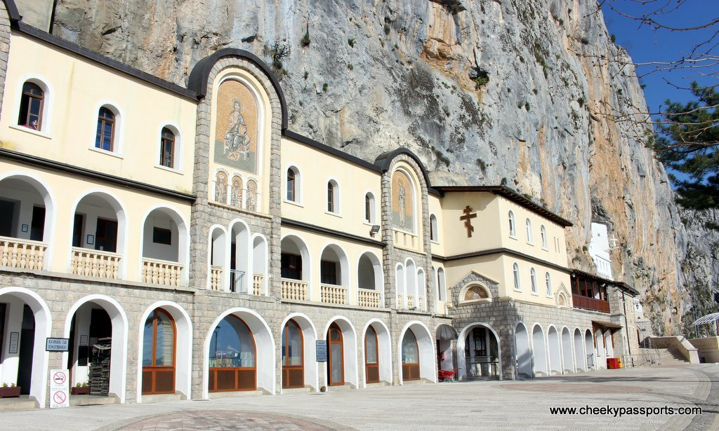 The lower part of Ostrog monastery by the cliff