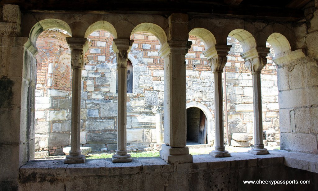 Looking out from inside one of the monastery rooms - A Picnic in ancient Apollonia albania