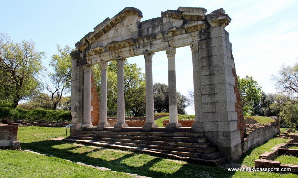 The ancient Monument of Agonothetes surrounded by greenery inside the site of Apollonia - A Picnic in ancient Apollonia Albania
