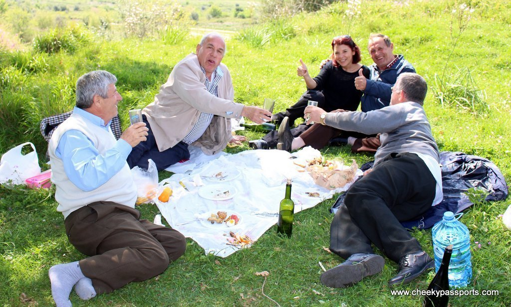 Michelle enjoying the picnic with newly made friends