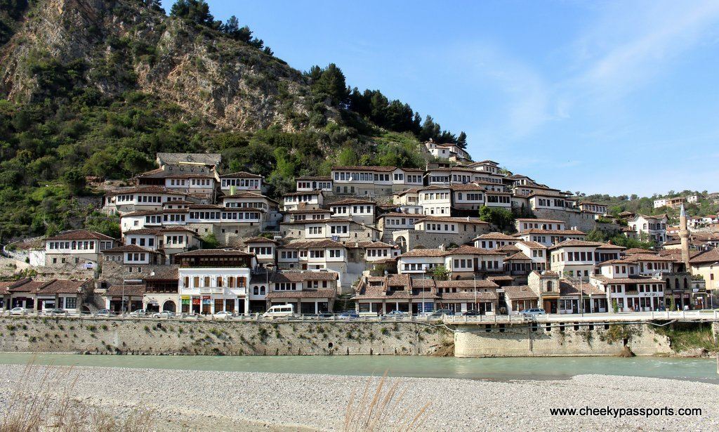 The houses with many windows of Berat by the river